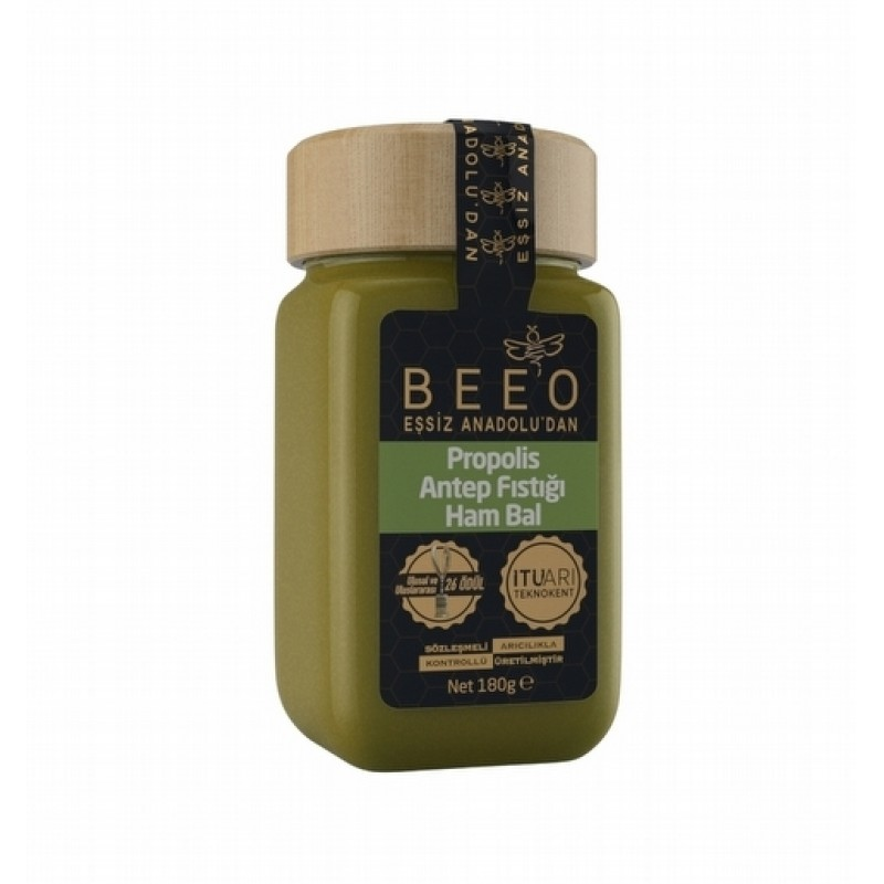 1 1 - Beeo Propolis Antep Fıstığı Ham Bal - 180 gr