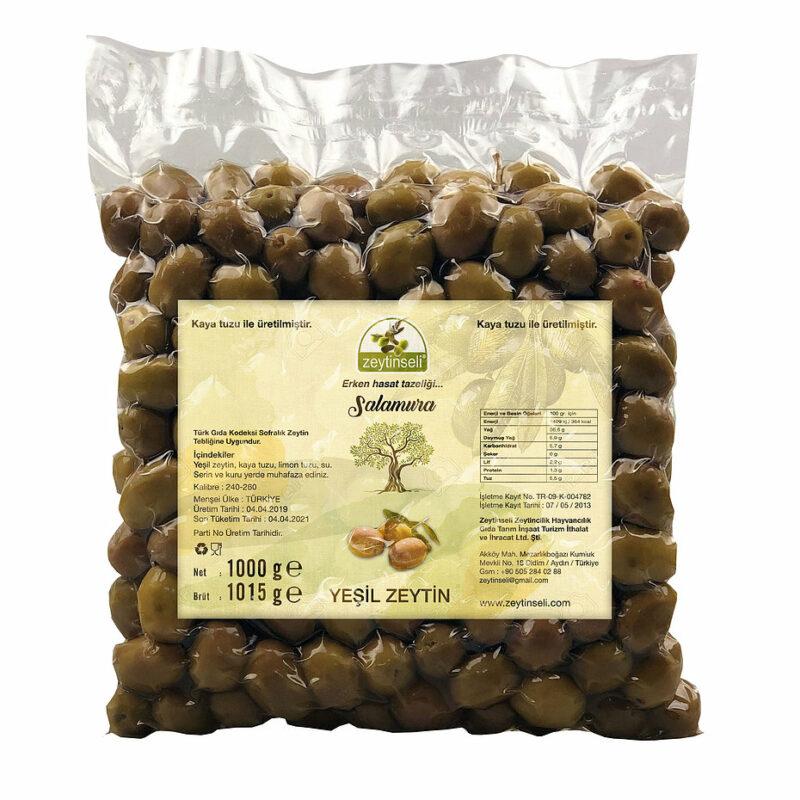 1 113 - Yeşil Kırma Zeytin Kaya Tuzlu Vakumlu - 1 kg