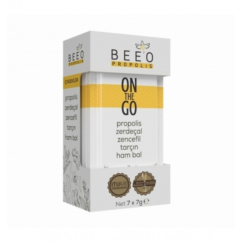 Beeo On The Go Propolis Zerdecal Zencefil Tarcin Ham Bal Karisimi 7Li Paket - Beeo On The Go - 7*7 gr